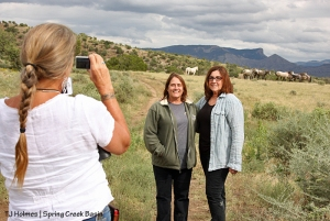 Kat Wilder takes pix of Suzanne Roy and Jen Maramonte with Chrome's band in Spring Creek Basin, Disappointment Valley, Colorado.