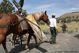 BLM range tech Justin Hunt leads Forest Service pack horse Trapper with a load of T-posts while Lauren leads Pinch toward the dropoff point along the southeastern boundary fence of Spring Creek Basin Herd Management Area. A Southwest Conservation Corps crew will be in the basin in October to replace a steep section of the fence, which has been worked on for four years by University of Missouri students during alternative spring break.