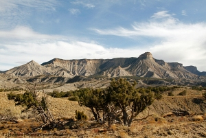 Beyond Spring Creek Basin in McKenna Peak Wilderness Study Area: McKenna Peak at far left and Temple Butte toward the right. Outside Spring Creek Basin, they are two of the basin's most recognizable landmarks.