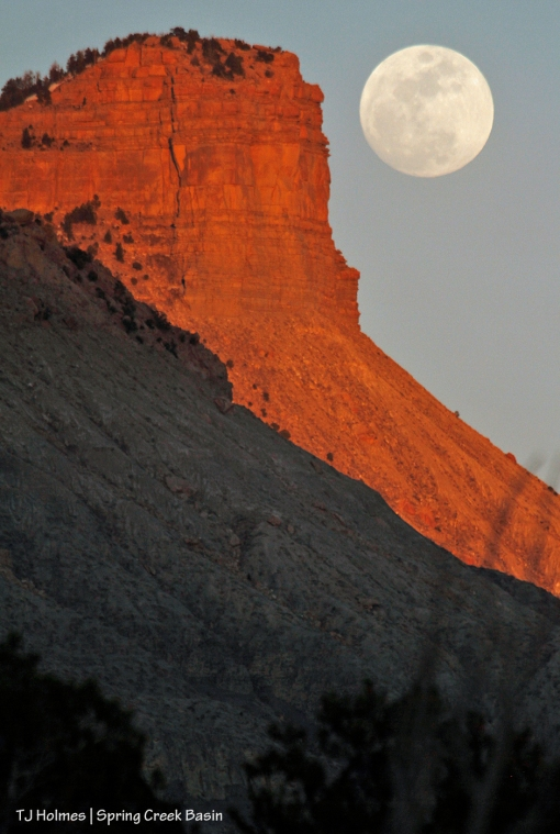 Full moon rising above Temple Butte and Brumley Point.