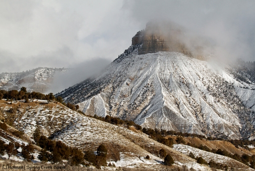 Temple Butte in lifting snow-mist.