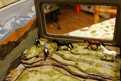 Model of Spring Creek Basin mustangs by Bebe June Mantooth, Troy, Texas.
