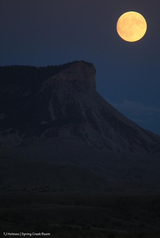 Full moon rises above Temple Butte and McKenna Peak in Disappointment Valley.